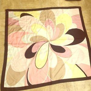 "Oscar de la Renta huge 36"" square scarf pastels"